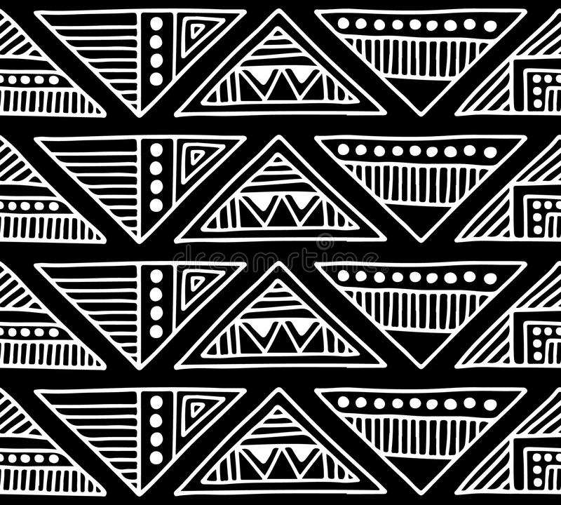 Seamless vector pattern. Black and white geometrical background with hand drawn decorative tribal elements. Print with ethnic, fol. K, traditional motifs stock illustration