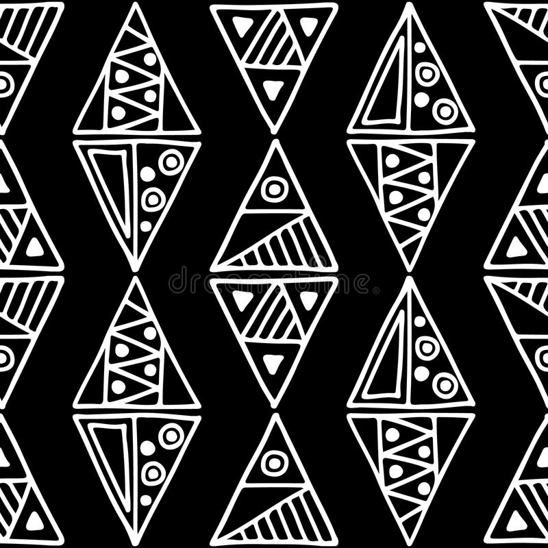 Seamless vector pattern. Black and white geometrical background with hand drawn decorative tribal elements. Print with ethnic, fol. K, traditional motifs vector illustration