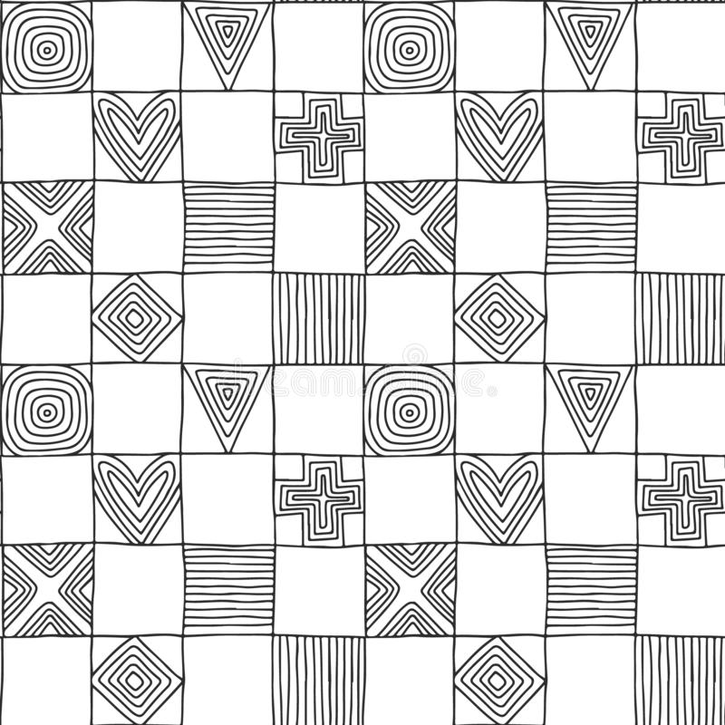 Seamless vector pattern. Black and white geometrical hand drawn background with figures, squares, hearts, triangle, cross, dots, royalty free illustration