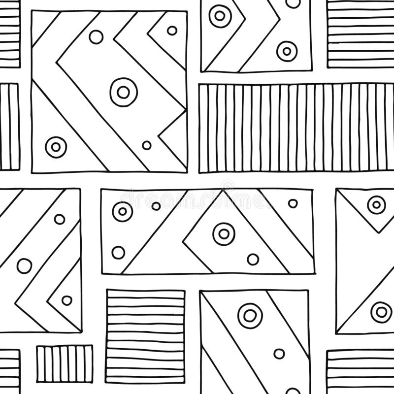 Seamless vector pattern. Black and white geometrical hand drawn background with rectangles, squares, lines, dots. Print for backgr stock illustration