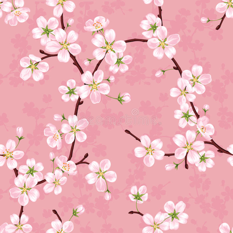 Seamless vector pattern of blossoming apple branches royalty free illustration