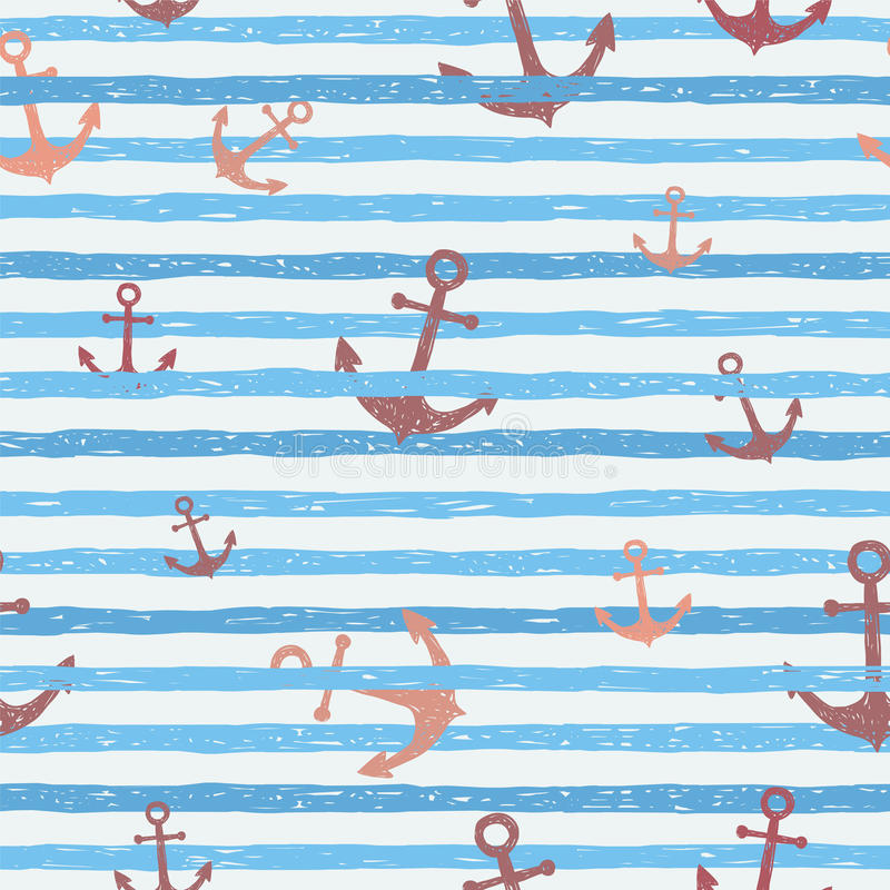 Seamless vector pattern - blue stripes with anchors. Seamless vector pattern. Light blue stripes with anchors vector illustration