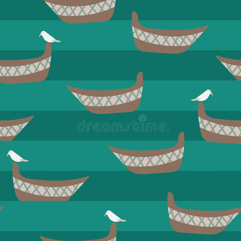 Seamless vector pattern with boats, seagulls and teal stripes of water stock illustration