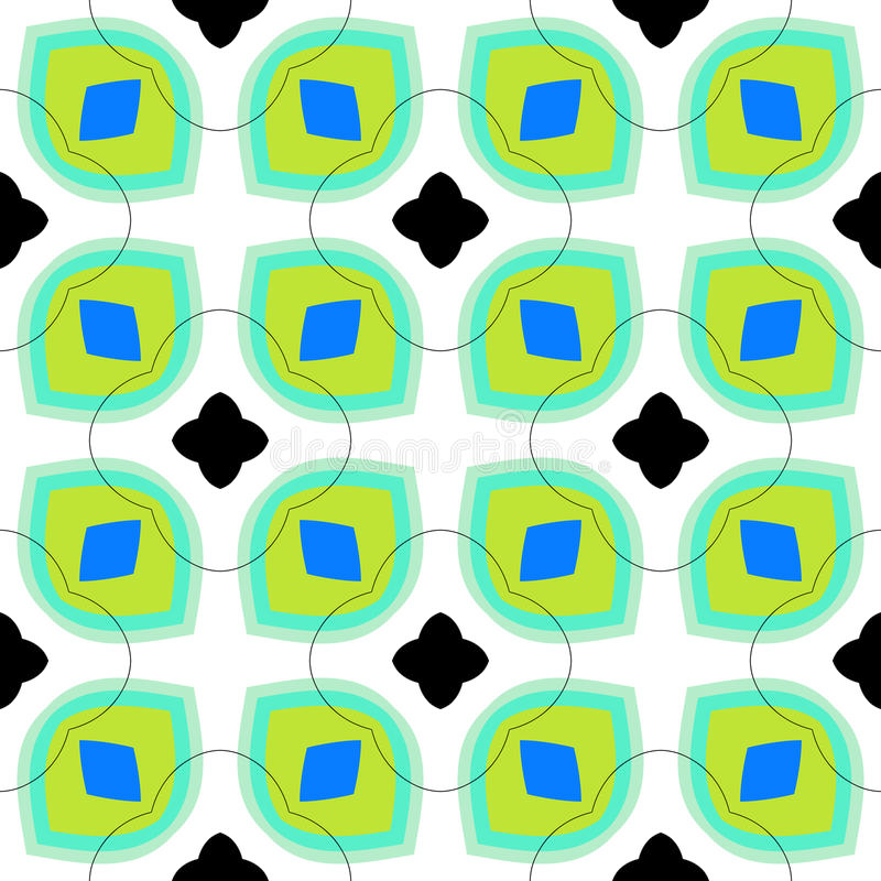 Seamless vector pattern with bold geometric shapes stock illustration