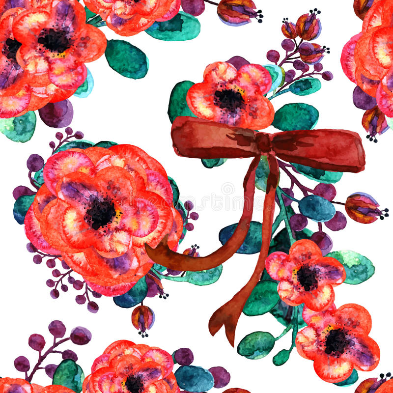 Seamless vector pattern with bouquets of summer flowers. Watercolor illustration. And red bow royalty free illustration