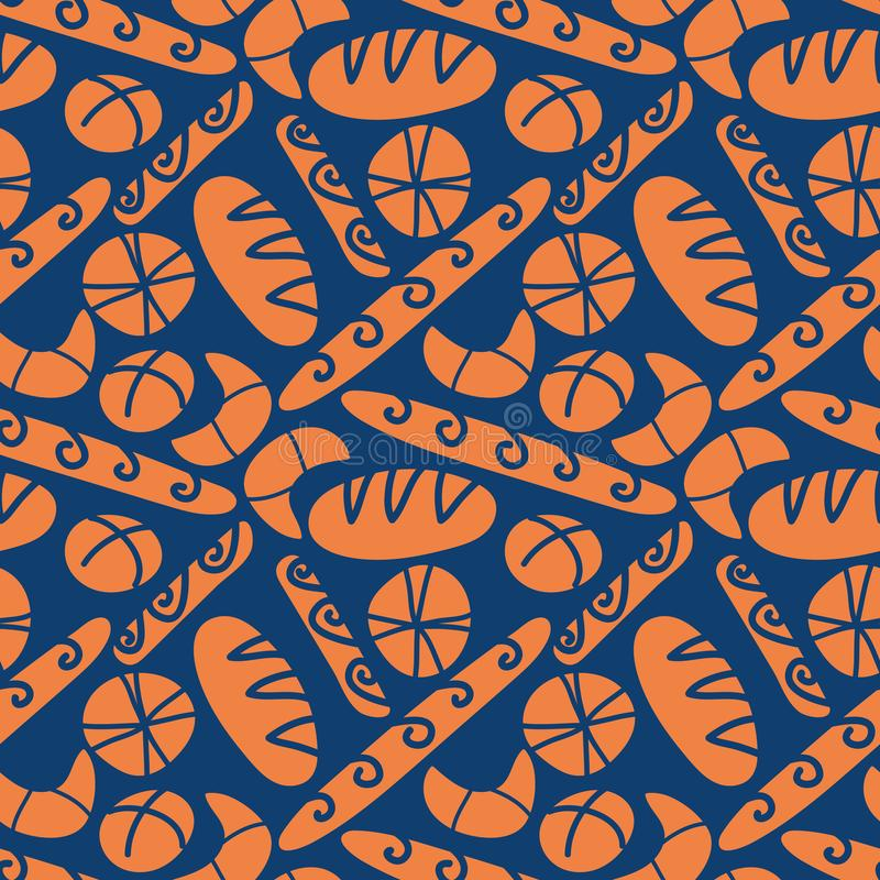 Seamless vector pattern with bread loafs and buns on dark blue backround vector illustration