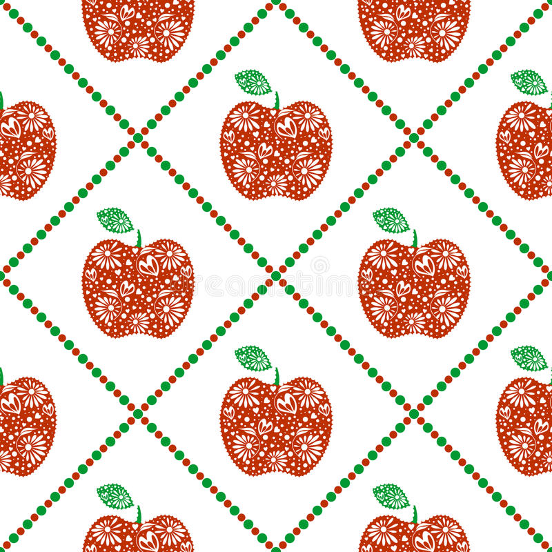 Seamless vector pattern, bright fruits symmetrical background with red decorative ornamental apples and rhombus, on the white ba royalty free illustration