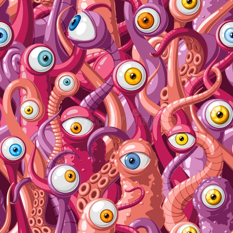 Seamless vector pattern of cartoon eyes and tentacles of monsters with pink skin, blue and yellow eyes stock illustration