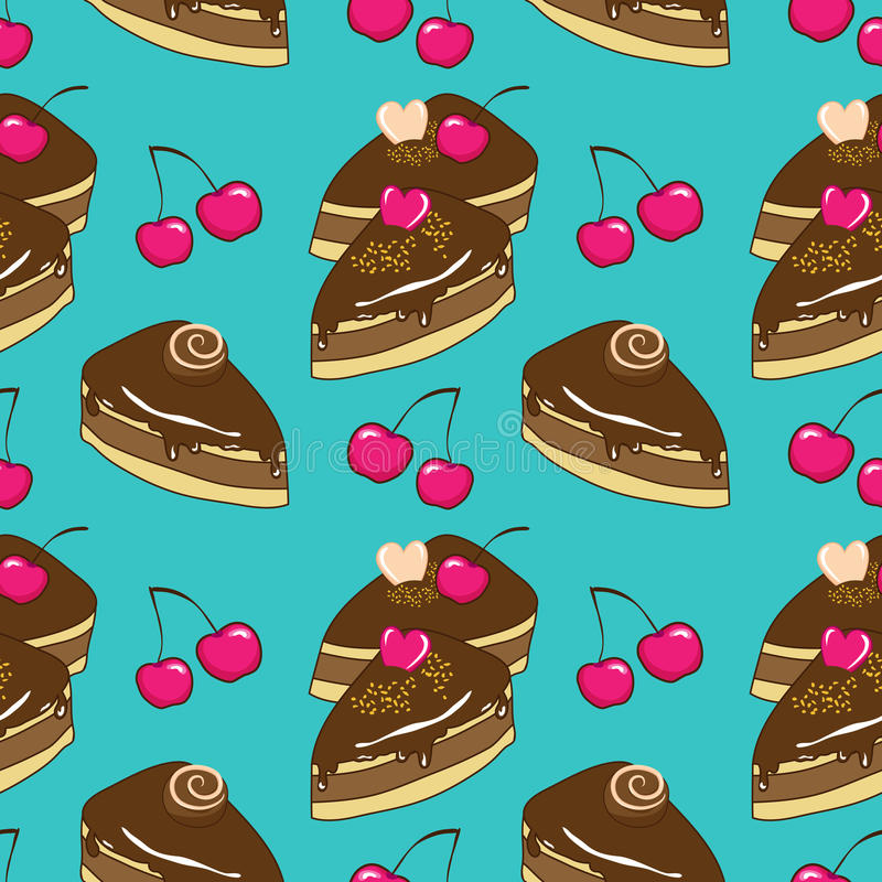 Seamless vector pattern with chocolate cakes. Pattern with chocolate cakes and cherry royalty free illustration