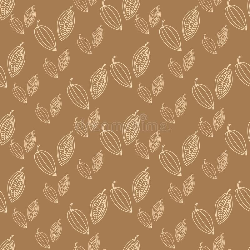 Cocoa Beans . Vector Lettering. Cocoa Pod Fruit And Grains