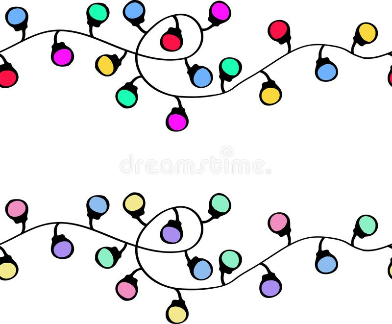 Seamless vector pattern with Christmas garlands stock photo