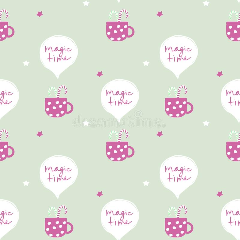 Seamless vector pattern with christmas inspired hot drink, sweets and phrase ``magic time``. Suitable for wrapping paper, royalty free illustration