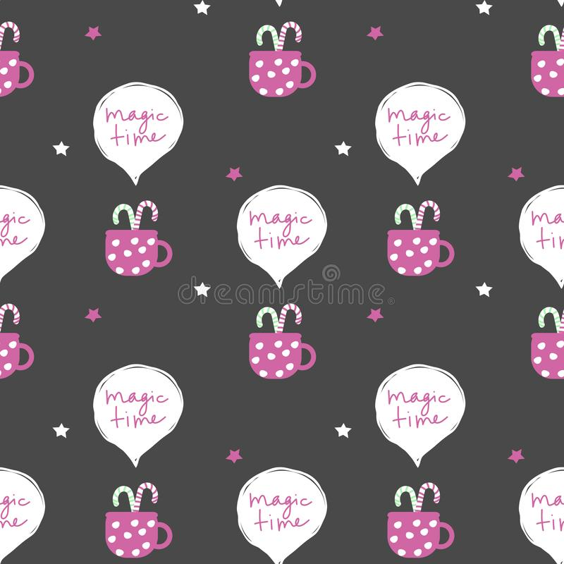 Seamless vector pattern with christmas inspired hot drink, sweets and phrase ``magic time``. Suitable for wrapping paper, vector illustration
