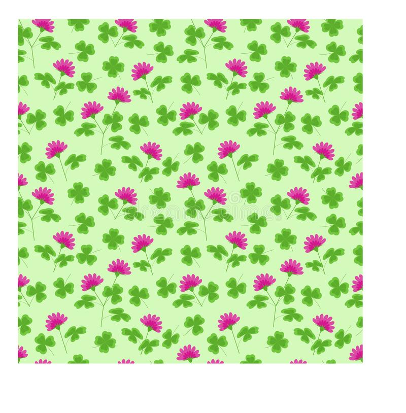 Seamless vector pattern with clover leaves and flowers royalty free stock photos