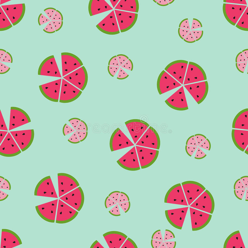 Seamless vector pattern with color watermelons stock illustration