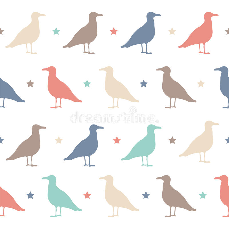 Seamless vector pattern with colorful birds and stars. Happy Halloween party. stock illustration