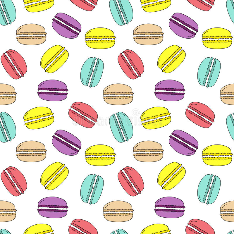 Seamless vector pattern colorful doodle macarons scattered in different directions on white background, cute, fabric, gift wrappi stock illustration