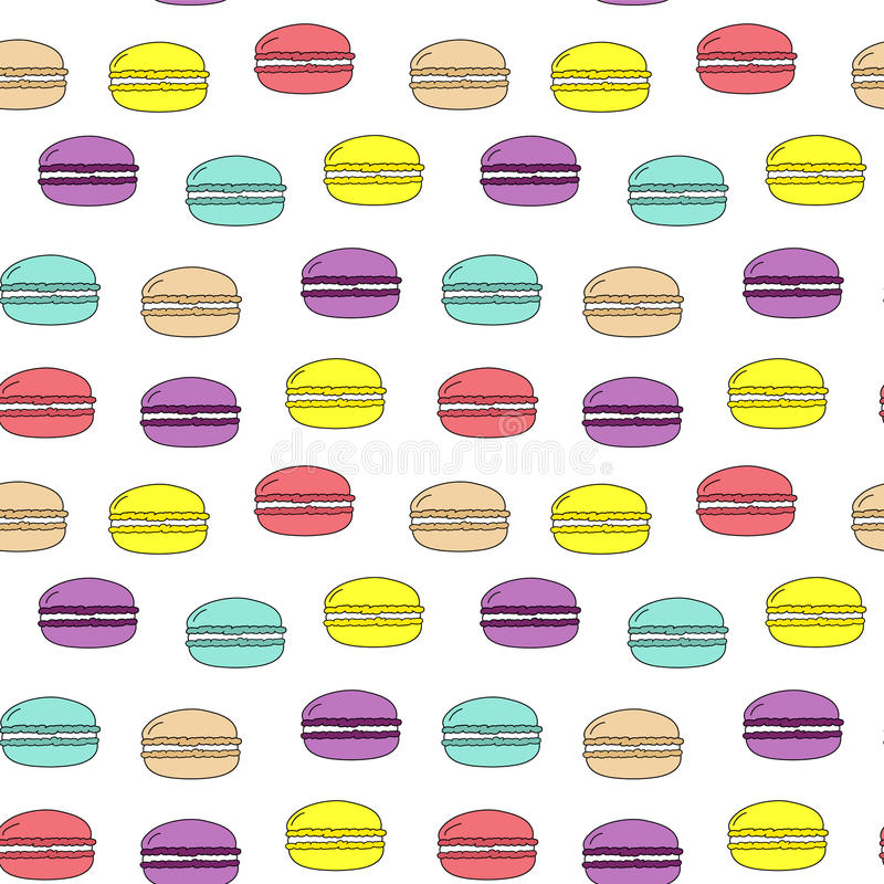 Seamless vector pattern colorful doodle macarons on white background, cute, fabric, gift wrapping, wallpaper, kids vector illustration