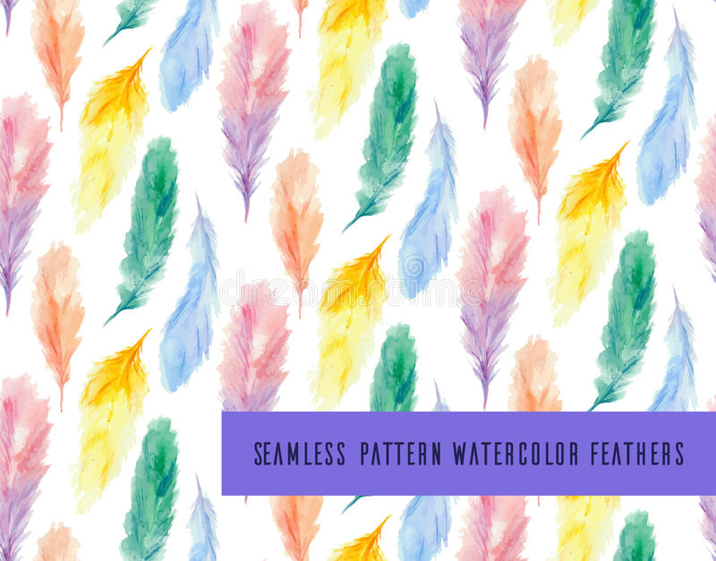 Seamless vector pattern with colorful watercolor feathers vector illustration