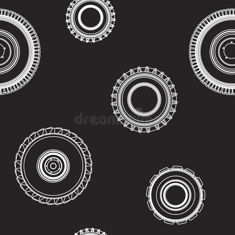 A linear seamless pattern with tires on a black background. Seamless vector pattern for companies selling tires or car wheel service. It can also be used for vector illustration