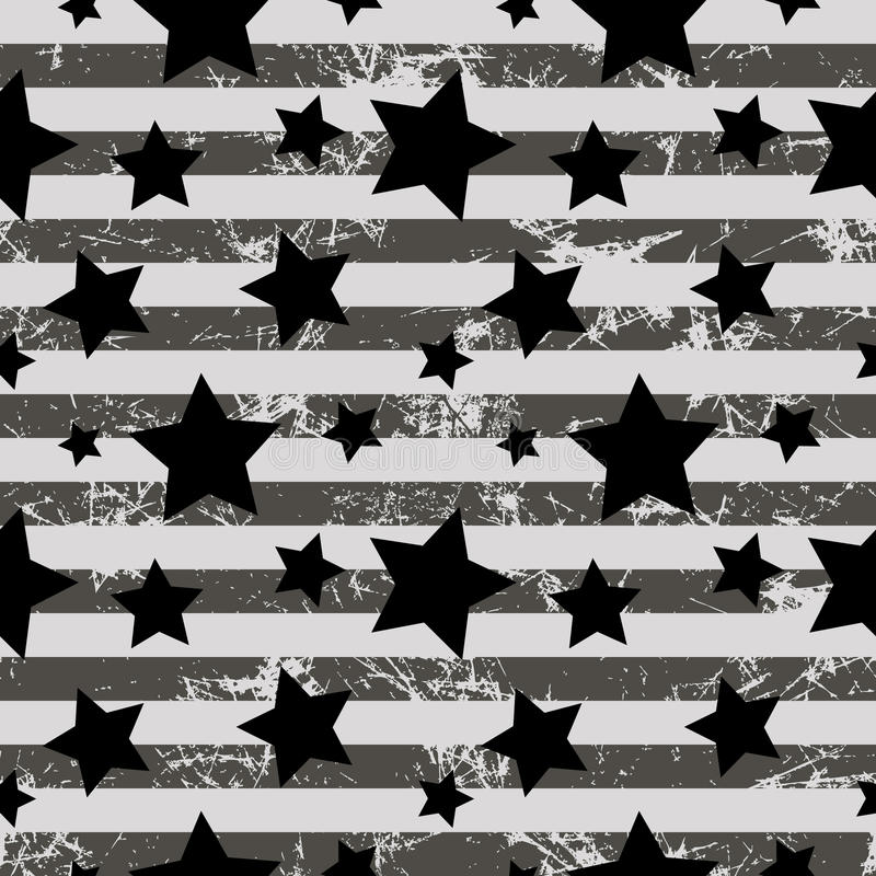 Seamless vector pattern. Creative geometric gray background with stars and stripes stock illustration