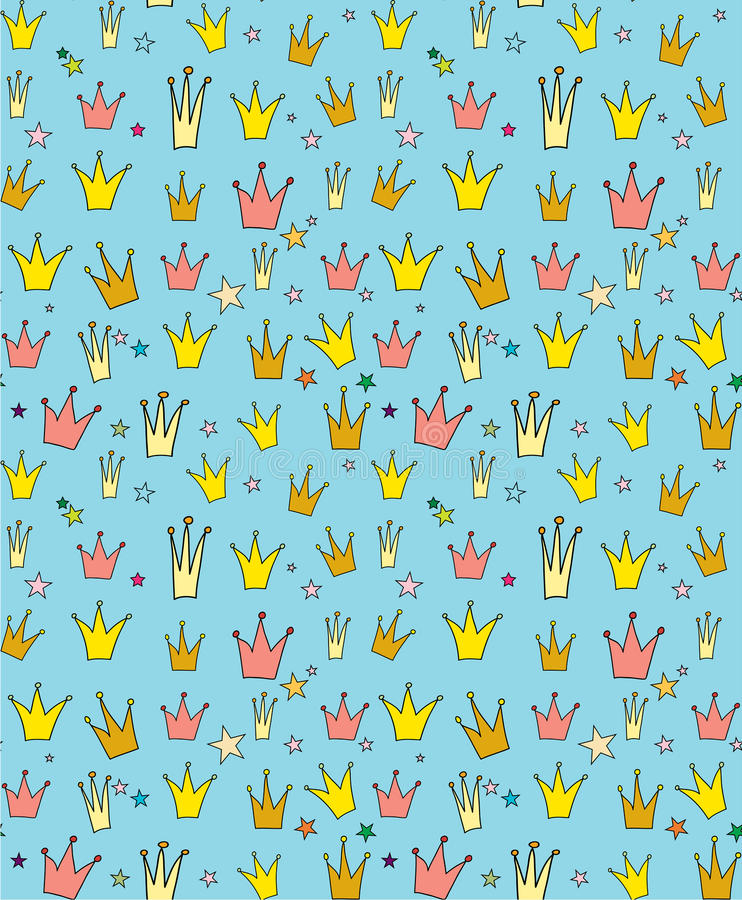 Seamless vector pattern of the crown princess vector illustration