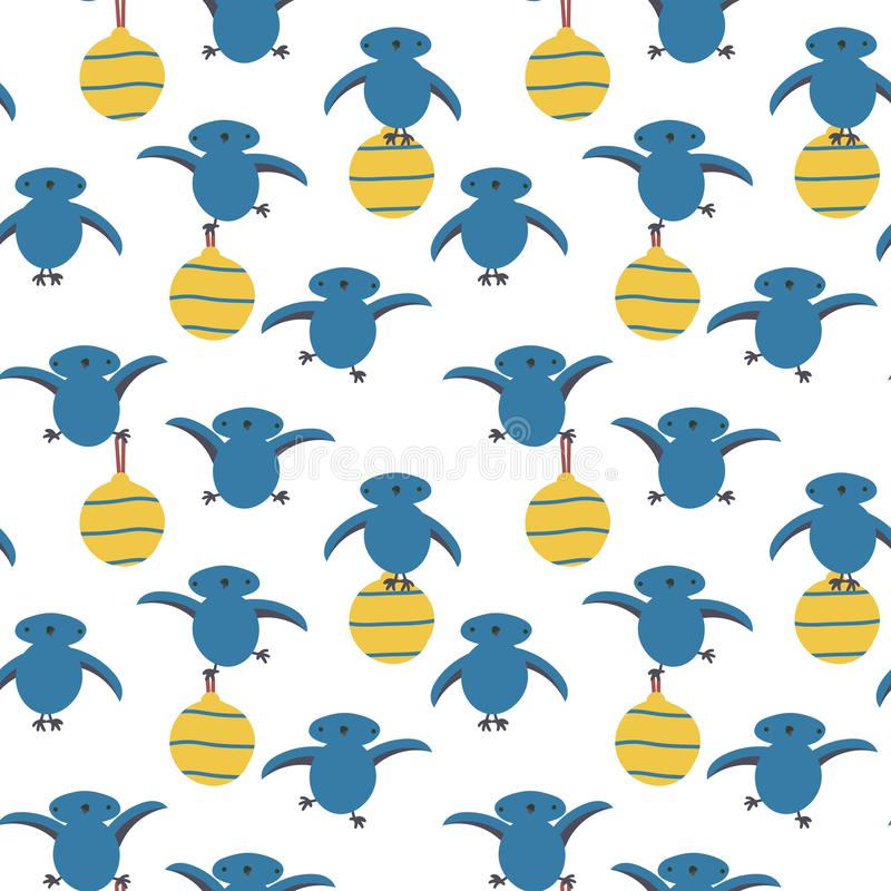 Seamless vector pattern with cute blue birds holding yellow christmas baubles. A seamless vector pattern with cute blue birds holding yellow christmas baubles royalty free illustration