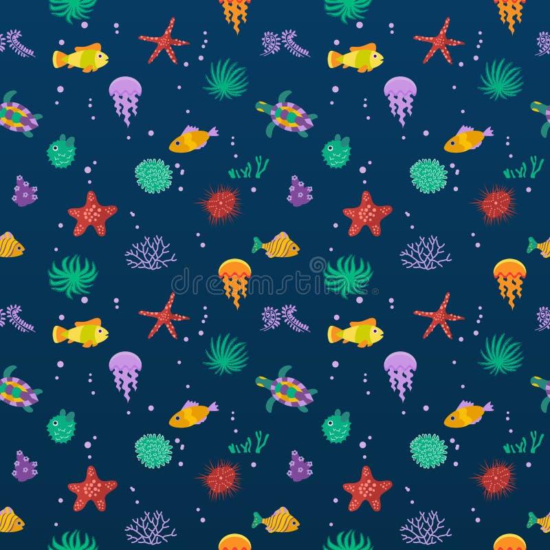 Seamless vector pattern with cute cartoon fish stock illustration
