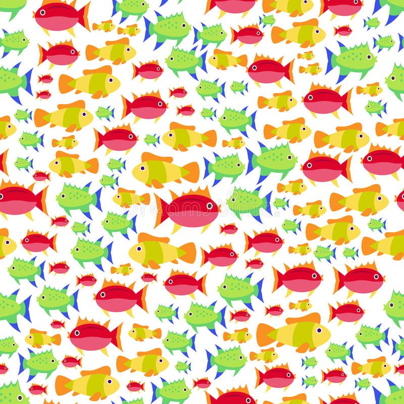 Seamless vector pattern with cute cartoon fish royalty free illustration