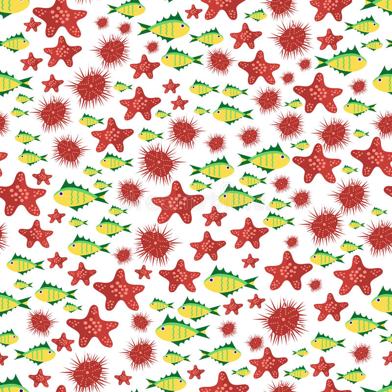 Seamless vector pattern with cute cartoon fish and stars in red royalty free illustration