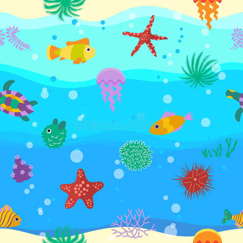 Seamless vector pattern with cute cartoon fish in waves vector illustration