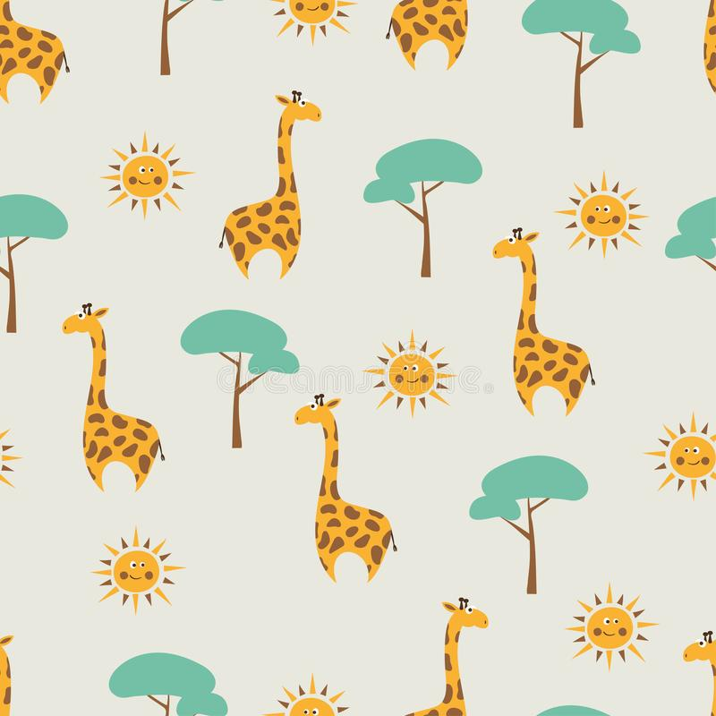 Seamless vector pattern with cute cartoon giraffe, tree and sun. stock illustration