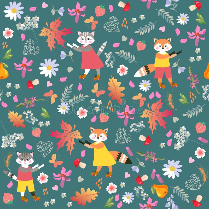 Seamless vector pattern with cute cartoon little foxes, cats, isolated on green. Picture for baby. royalty free illustration