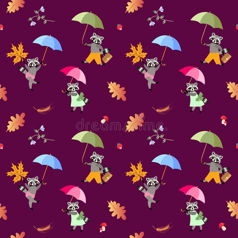 Seamless vector pattern with cute cartoon raccoons with umbrellas royalty free illustration