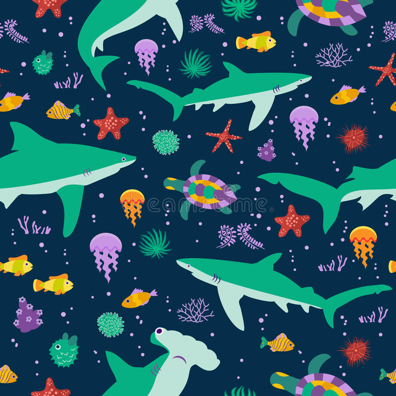 Seamless vector pattern with cute cartoon sharks and fishes vector illustration