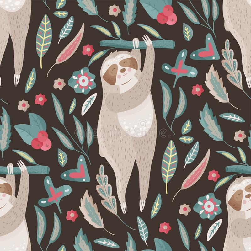 Seamless vector pattern with cute cartoon sloth. royalty free illustration