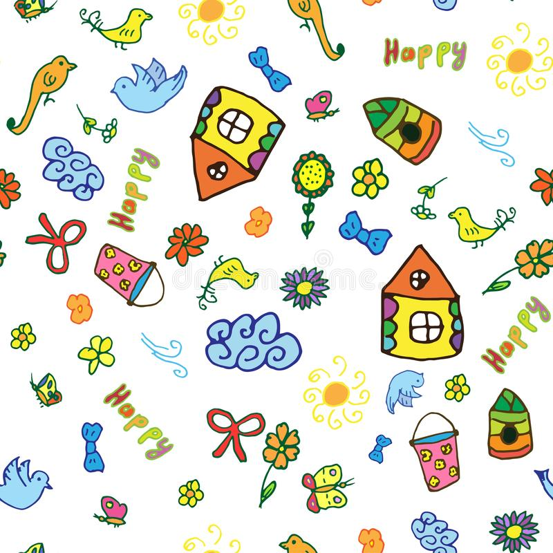 Seamless vector pattern with cute childish hand drawn house, sun, cloud, flowers, birds. stock illustration