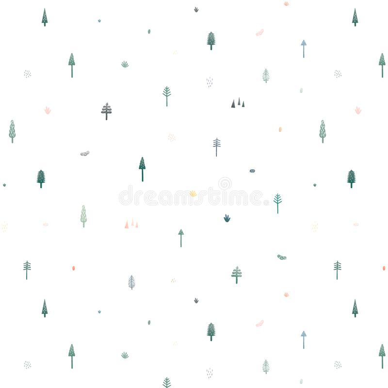 Seamless vector pattern with cute Christmas trees on white background. Pattern illustration in minimal cartoon style. Abstract doo stock illustration