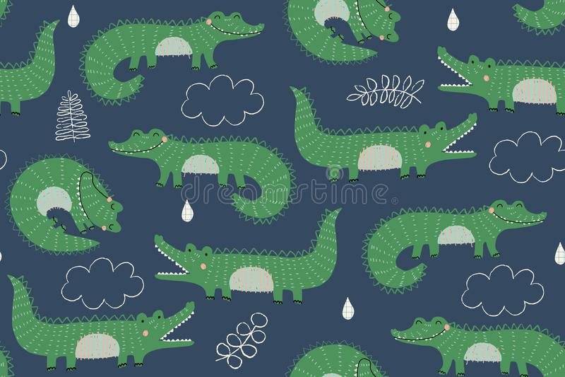 Seamless vector pattern with cute crocodiles in green on a blue background stock illustration