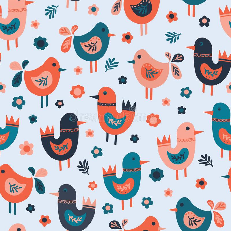 Seamless vector pattern cute doodle birds and flowers. Scandinavian flat style birds red, blue, pink. Use for fabric, kids decor, stock illustration