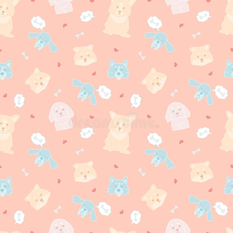 Seamless vector pattern with cute doodle dogs on pink background. Bright lovely illustration of colorful animals vector illustration