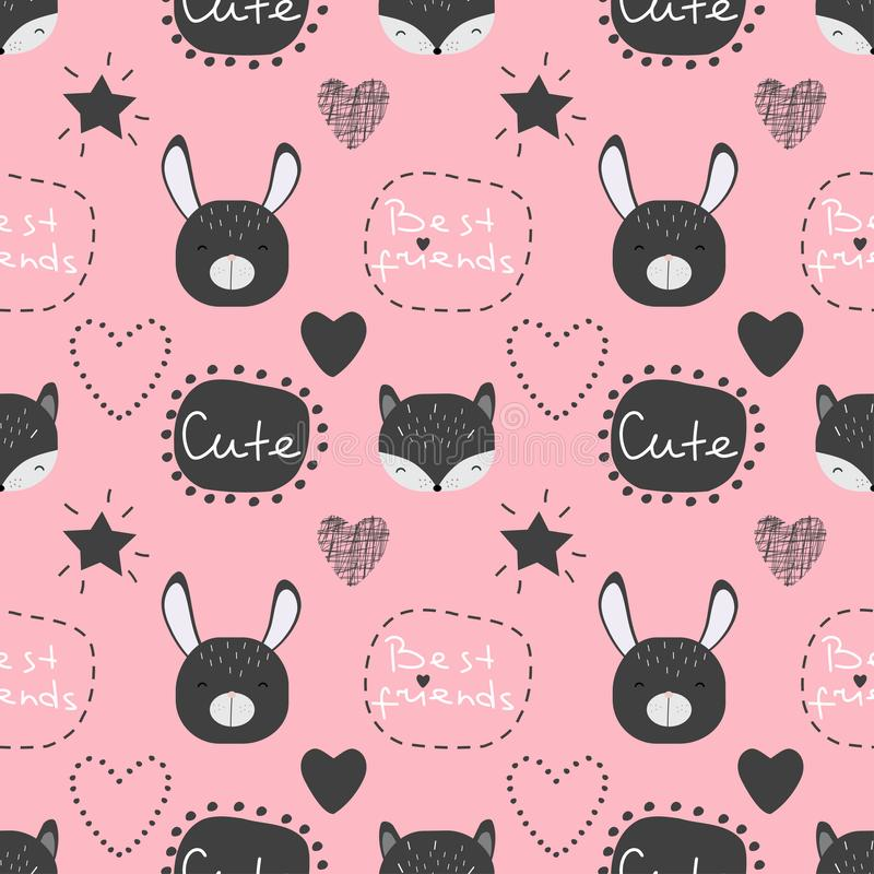 Seamless vector pattern with cute kawaii cartoon animals and words royalty free illustration