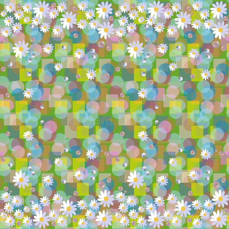 Seamless vector pattern with daisies and dewdrops on abstract background. Beautiful floral border royalty free illustration