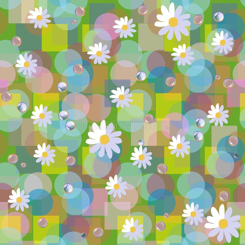 Seamless vector pattern with daisies and dewdrops on abstract background.  royalty free illustration