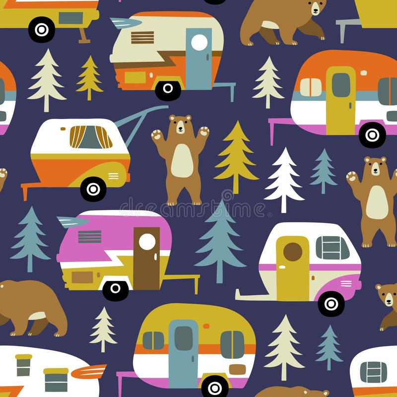 Vintage camping cars, bears and woods. vector illustration