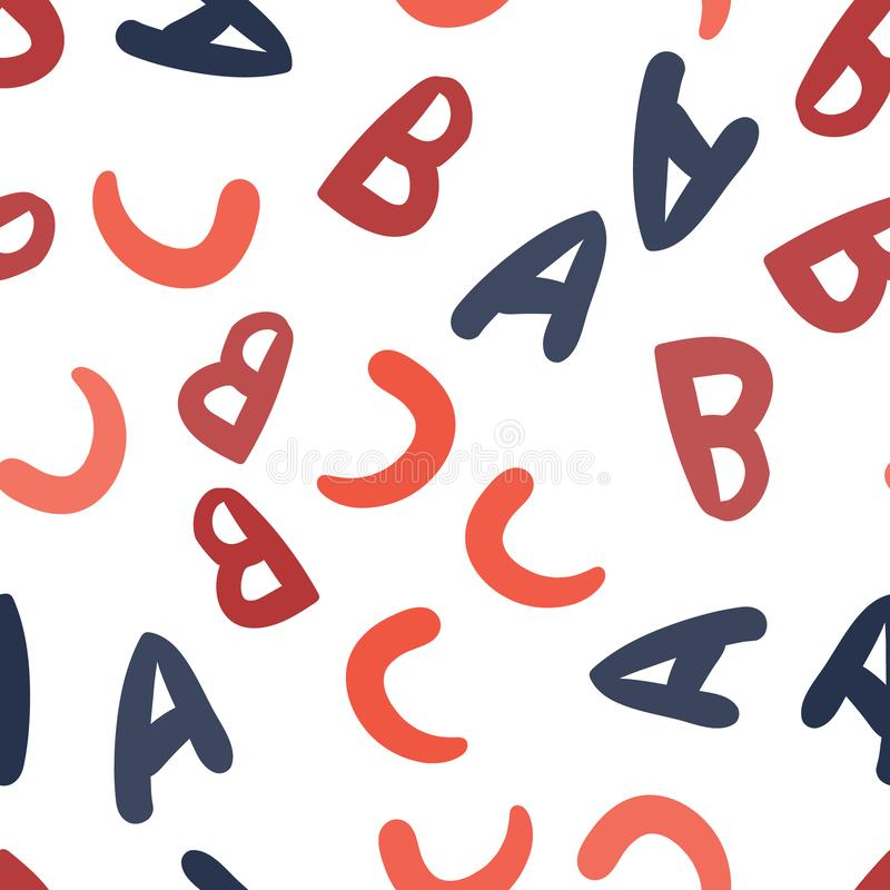 Seamless vector pattern - different letters ABC. Colorful school pattern with font characters A, B, C for children. Multicolor. Background for kids. Vector vector illustration