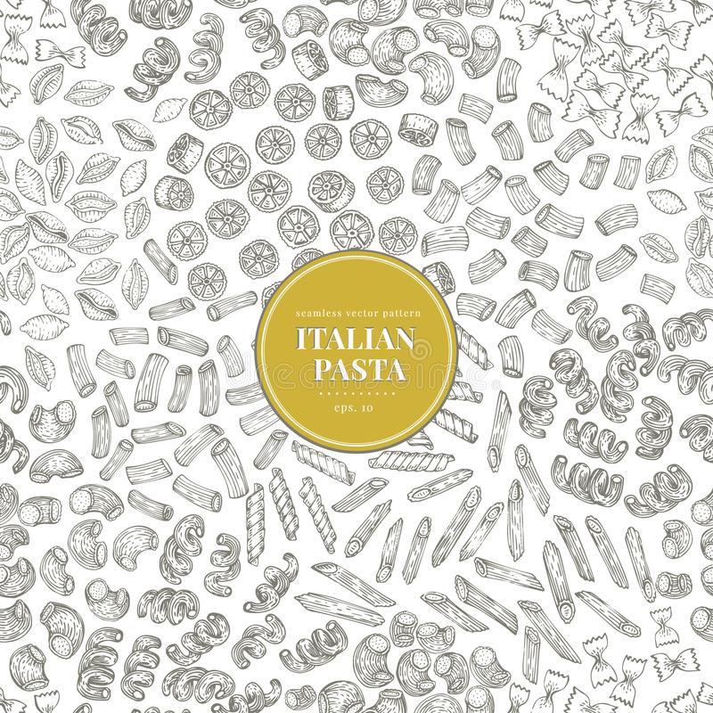 Seamless vector pattern with different types of traditional Italian pasta. Hand drawn vector illustration. Can be use royalty free illustration