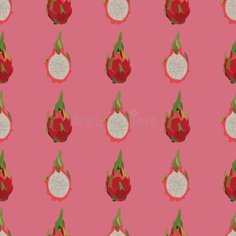 Seamless vector pattern with dragon fruit on pink background. vector design of exotic tropical fruit pitayas. Pattern for print, textile, fabric, quilt etc stock illustration