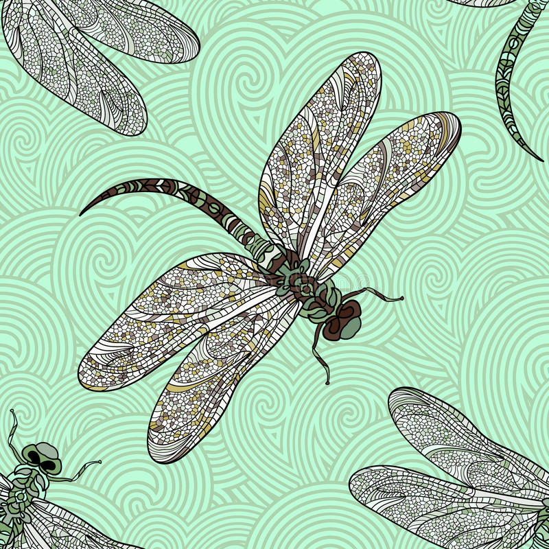 Seamless vector pattern with dragonfly on a green background. Elegant decoration. Can be used for wallpaper, pattern fills, web page background, surface vector illustration