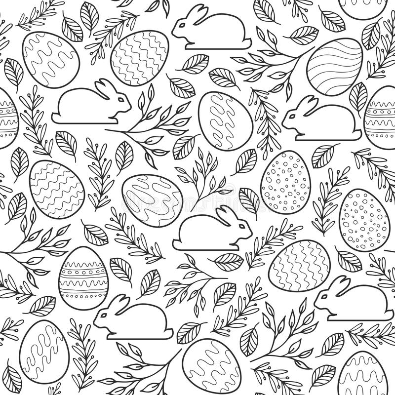 Download Seamless Vector Pattern With Easter Eggs Bunnies Stock